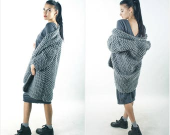 Chunky knit coat chunky knit cardigan grey bohemian outwear knit wool cardigan  giant knitting oversize cardigan  bulky yarn knitwear
