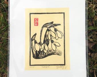 Hope Linoleum Block Print