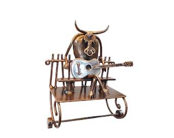 Toilet paper holder, bull on bench with guitar, welding and forging iron art, steel toilet paper holder, Bathroom decor, Spot welding