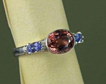 sapphire engagement ring zircon engagement ring sapphire dress ring zircon dress ring Ceylon sapphire ring rose zircon ring statement r ZirB