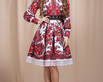 Red summer dress, Floral Boho dress, floral gypsy Dress, bohemian dress, boho chic, boho dress, summer dress midi, white boho dress
