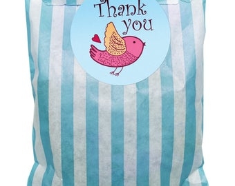 Blue & white paper party bags with 60mm blue bird, thank you stickers - 24 of each