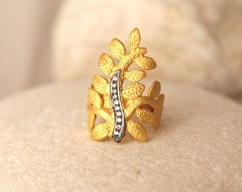 Gold leaf long finger ring, Cubic zirconia jewelry, Boho chic style, handcrafted jewel