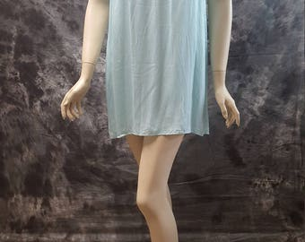 Modal and Satin light blue sea foam Top Tunic Mini dress Sleeveless dress short dress Summer dress Spring dress Party dress