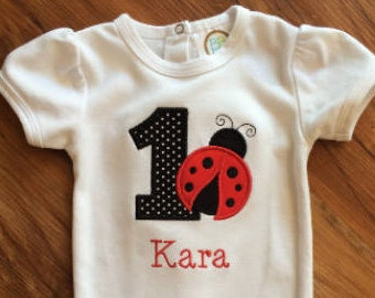 Ladybug First Birthday Bodysuit