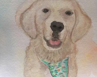 Pet Portrait, custom painting, watercolor art