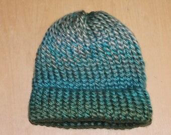 Shades of blue and green preemie/newborn knit cap