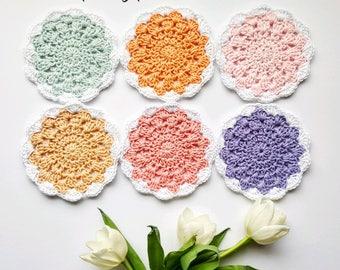 Spring Pastel Coaster pdf crochet pattern