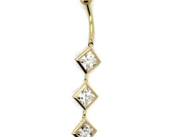 14K Yellow Gold Dangling Bezel Belly Ring with Three Princess CZ
