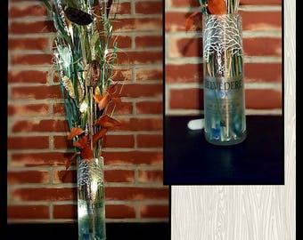 Hand Cut Belvedere  Vodka Vase with lighted branch decor