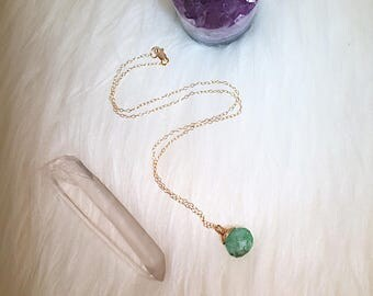 Chrysoprase Necklace, Green Gemstone Necklace, Gemstone Necklace, Mother's Day