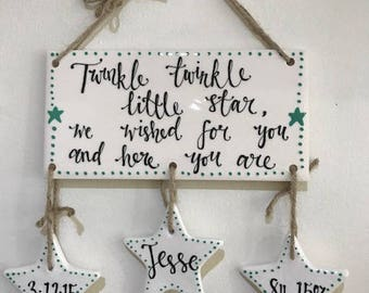 Hand Painted Children's Gift - New Baby Hanging Sign