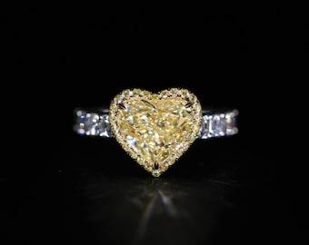 18K White & Yellow Gold Fancy Yellow Heart Diamond Ring 6.53ct R1657934