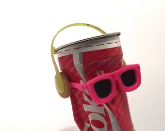 RARE Vintage 90's Dancing Coca Cola Can - Pink & Yellow Colour