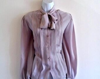 Vintage Tie Neck Secretary Top 80s Tuxedo Front Pintuck - Size M / 14, Pin Tuck Necktie, Bow Button Up, Grey Gray Silky Sheer, Long Sleeve