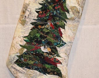 Quilted Christmas Stocking with Christmas Tree by Art QuiltsbyMurray