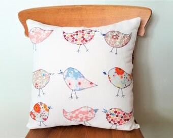 Woodland bird throw pillow cover