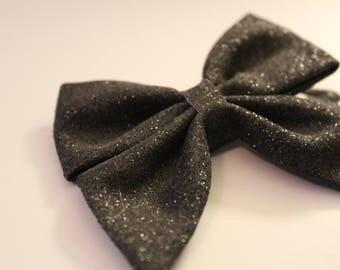 BLACK GLITTER Hair Bow Clip