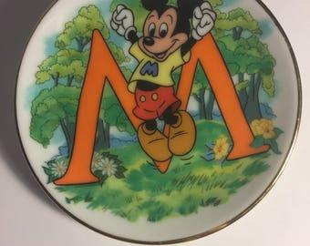 "Disney Letter M for Mickey Mouse Miniature Porcelain Plate—Vintage, Part of the ""Disney's Alphabet"" Collection—1980s"