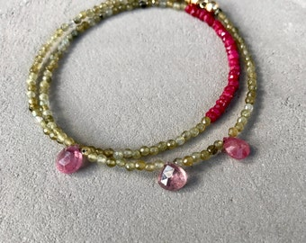 Bracelet BLY Ruby ethnic collection, labradorite and Sapphire pink faceted briolette