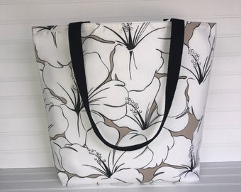Handmade Everyday Tote | Market Bag | Large Floral Neutral Tote