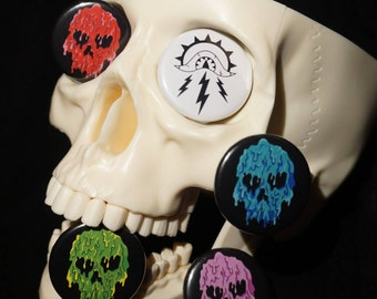 Melty Skull Button Badge set
