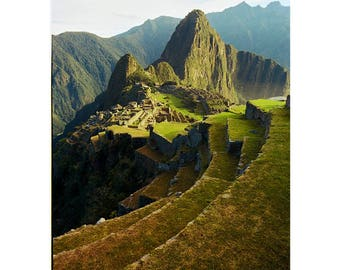 Peru Photography, Machu Picchu, Andes, Ancient Civilization, Architecture, Beauty in Nature, Mountain Peak, Spiritual, Green