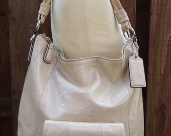 Vintage COACH Kirsten Hobo Tote Shopper Slouch Shoulder Bag Multi Way Messenger Cross Body Patent Crinkle Patent Ivory Leather Handle Strap