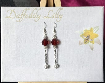 Pearl and Wine Earrings