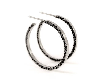 Carina Textured Sterling Silver Hoop Earrings