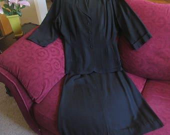 1940s Vintage Black Suit, Black Rayon Vintage 40s Suit