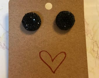 Sparkling Round Black Stud Earrings
