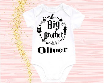 Big Brother Onesie Baby Boy Clothes Little Brother Bodysuit Harry Potter Clothes Harry Potter Baby Reveal to Brother Baby Announcement