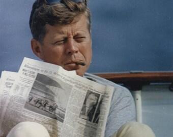 John F Kennedy JFK President Relaxing Smoking cigar 8 x 10 photo