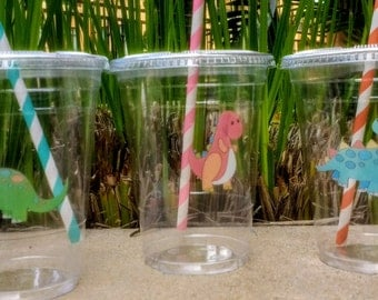 Dinosaur Party Cups with Lids and Straws, Plastic Dino Party Drink Cups Cute Dinosoaur Party Cups