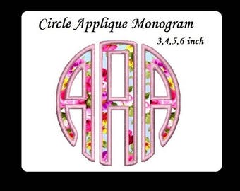 Circle Applique Monogram Machine Embroidery Large Font -Instant Download 3,4,5,6 inch