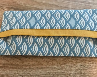 Blue and mustard yellow handkerchiefs shell case