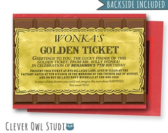 Willy Wonka Invitation, Willy Wonka Birthday Invitation, Candy Invitation, Willy Wonka Party, Golden Ticket Invitation, Invites, Printables