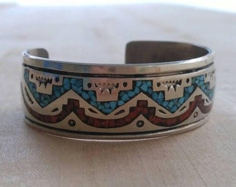 Turquoise and coral inlay Navajo cuff bracelet , Sterling silver Navajo cuff bracelet