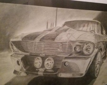 Shelby GT500, original, handmade, drawing, hand painted, unique, pencil, drawing, car, hand signed, wall art, gift idea,.
