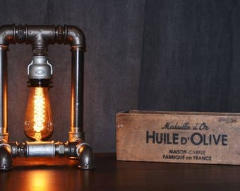 "Industrial Vintage Lamp ""Tori""-Steampunk Lamp-Table Lamp-Urban Lamp - Vintage Light - Edison Light - Pipes Lamp - Vintage Bulb - Desk Lamp"