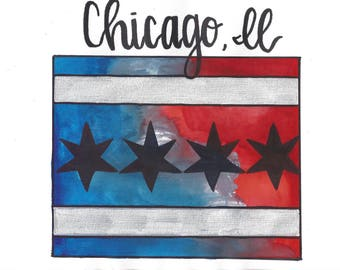 Watercolor Chicago Flag