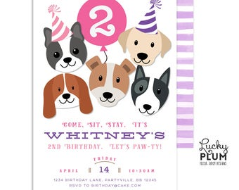 Girls Puppy Party Invitation / Girls Dog Birthday Invitation / Puppy Birthday Invitation / Puppy Dog Birthday Invitation / *Digital DG03