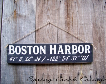 Sign, Custom, Coordinates, Latitude, Longitude, Coastal Living, Nautical, Coastal Chic, Handpainted, Beach, Housewarming Gift