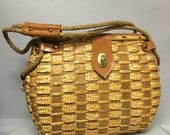 HUGE 1950's Vintage Fishing Bag Style, 50s STRAW & LEATHER Handbag Purse