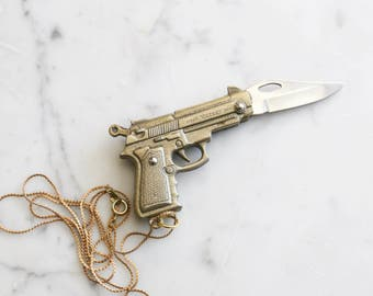 Gun Pocket Knife Necklace: Novelty Brass Pistol Revolver