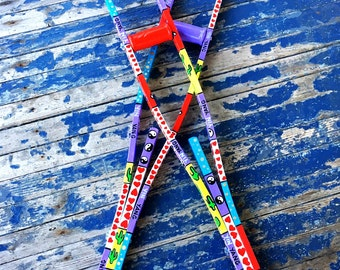 Hand Painted Wood Patchwork Crutches Medical Adjustable