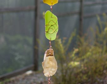 Wind Chimes Oyster Shell Sea Glass beach glass stained glass windchime suncatcher