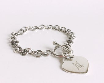 Vintage Sterling Silver Heart Bracelet, Monogrammed Charm, Initial M, Bright Silver Chain, Stamped 925 Silver, Toggle Clasp, Valentines Gift
