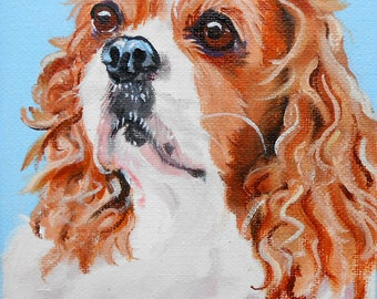 "Custom Pet Portrait, Cavalier King Charles Spaniel Art or any breed, 4"" x 6"", Cat Portrait, Artist, Pet Painting, Cat Painting Dog Painting"